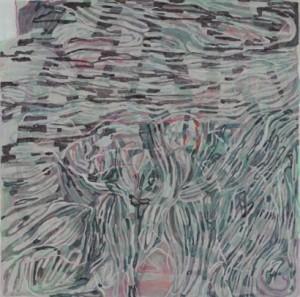 Hommage à Mendelssohn 2012, Aquarel und Acryl 100 x 100 cm