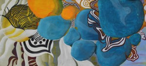 o.T. 2012, Mischtechnik auf Baumwolle, 67 x 146 cm