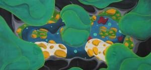o.T. 2012, Mischtechnik auf Baumwolle, 72 x 148 cm