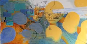 o.T. 2012, Mischtechnik auf Leinwollgewebe und Papier, 100 x 190 cm