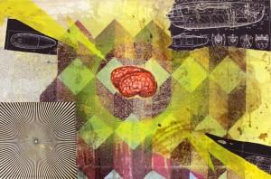 Insane with the brain 2012, Mischtechnik auf Leinwand, 70 x 40cm