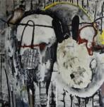 o.T. 2014, Mischtechnik auf Leinwand, 100 x 100 cm