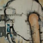 o.T. 2015, Öl und Collage auf Leinwand, 130 x 130 cm