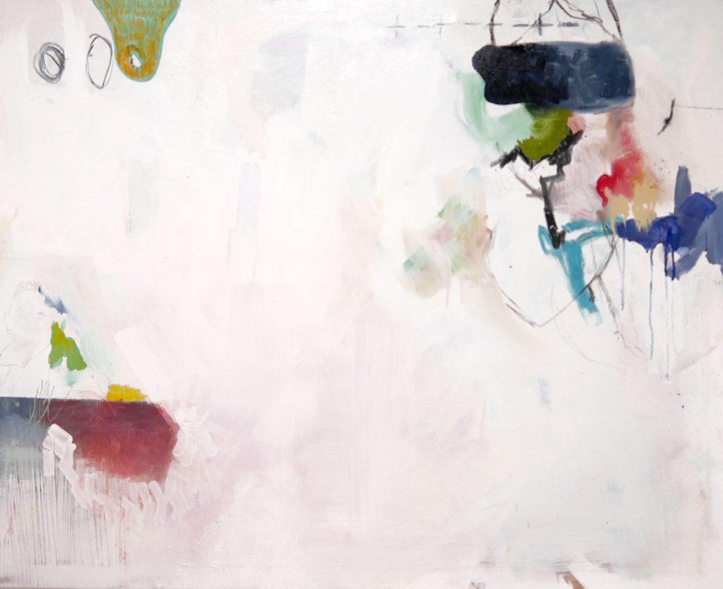 Josefine Henning, blind white, 2018, Mischtechnik auf Leinwand, 90 cm x 100 cm