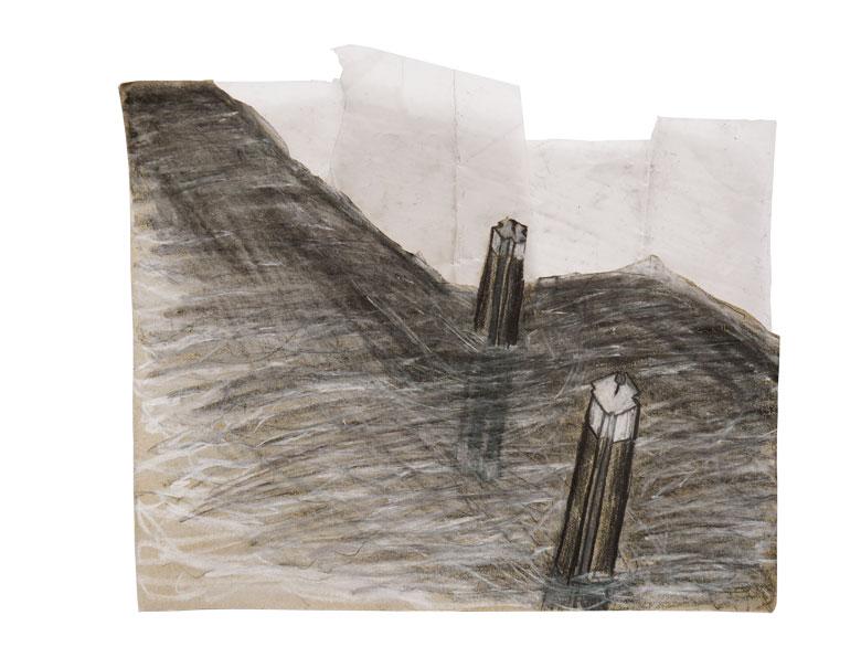 Tobinski_Zeichnung_2018_Grafit, Stifte, Transparentpapier auf Packpapier_23x21cm_©Tobinski
